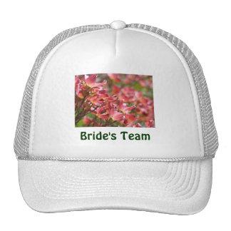 Bride's Team hat Whtie Pink Floral Wedding Party
