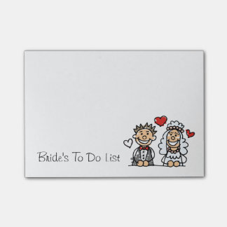 Bride's To Do List Wedding Planner Reminder Note Post-it® Notes
