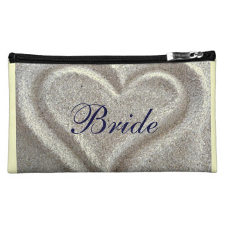 Brides Wedding Cosmetic Bag with Sand Heart Design