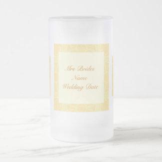 Brides Wedding Glass - Cream Ivory Gold Pattern Coffee Mug