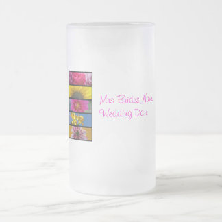 Brides Wedding Glass - Pink & Yellow Macro Flowers 16 Oz Frosted Glass Beer Mug