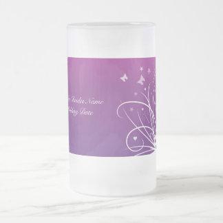 Brides Wedding Glass - Purple Butterfly Swirl Coffee Mugs