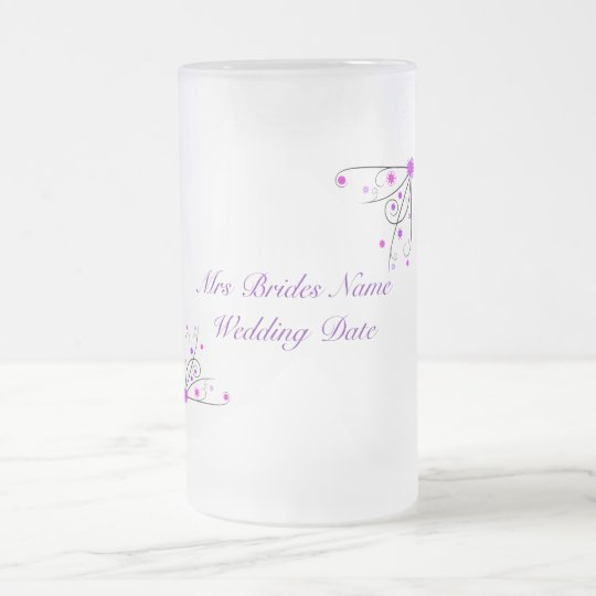 Brides Wedding Glass - Purple & Pink Flower Swirl Frosted Glass Beer Mug
