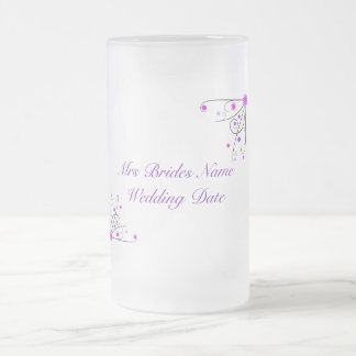 Brides Wedding Glass - Purple & Pink Flower Swirl 16 Oz Frosted Glass Beer Mug