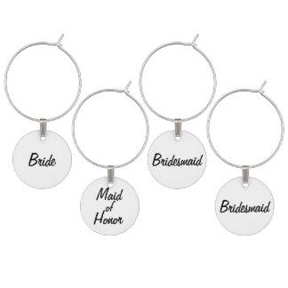 Bride's Wedding Wine Charm Set