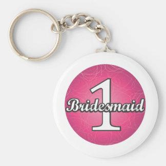 Bridesmaid #1 basic round button key ring