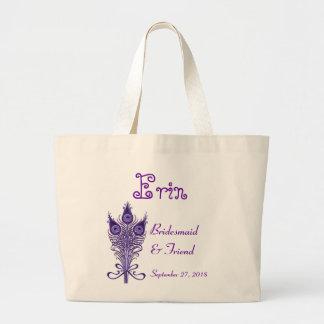 BRIDESMAID and FRIEND Purple Peacock Feathers Jumbo Tote Bag