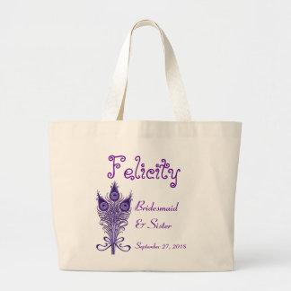BRIDESMAID and SISTER Purple Peacock Feathers Jumbo Tote Bag