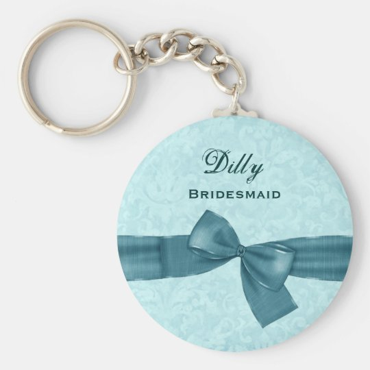 Bridesmaid Aqua and Teal Bow B030 Basic Round Button Key Ring