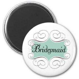 Bridesmaid Aqua Wedding Bridal Party 6 Cm Round Magnet