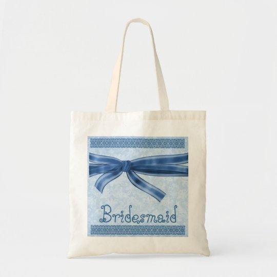 Bridesmaid Bag - Blue Striped Bow