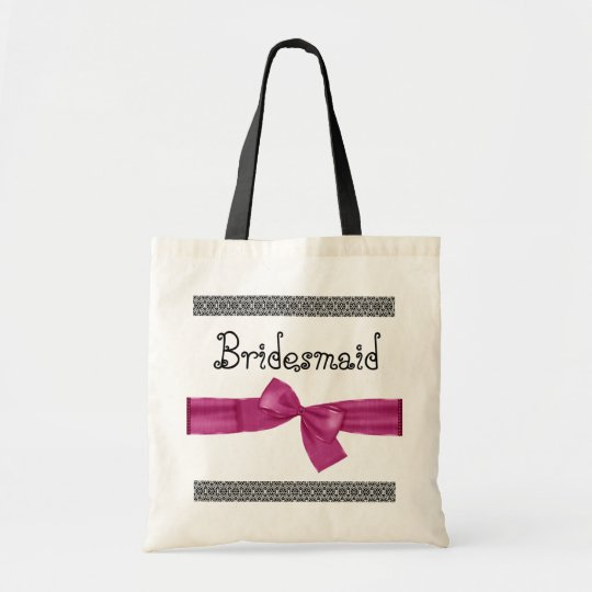 Bridesmaid Bag - Pink Faux  Bow and Lace