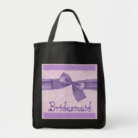 Bridesmaid Bag - Purple Textured Bow and Lace