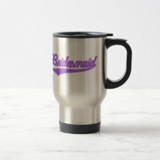 Bridesmaid (Baseball Script Purple) Travel Mug