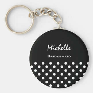 Bridesmaid Black and White Polka Dots Key Ring