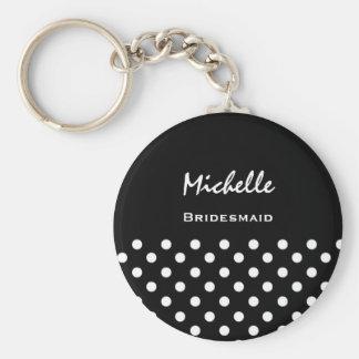 Bridesmaid Black and White Polka Dots Basic Round Button Key Ring