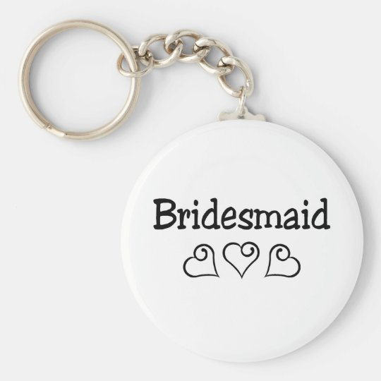 Bridesmaid Black Hearts Basic Round Button Key Ring