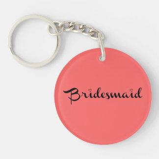 Bridesmaid Black on Salmon Key Ring