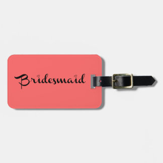 Bridesmaid Black on Salmon Luggage Tag