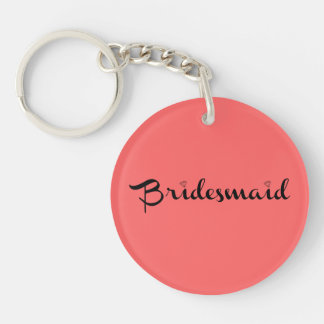 Bridesmaid Black on Salmon Single-Sided Round Acrylic Key Ring