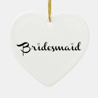 Bridesmaid Black on White Christmas Tree Ornament