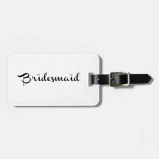 Bridesmaid Black on White Luggage Tag