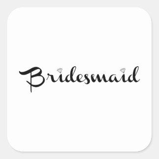 Bridesmaid Black on White Stickers