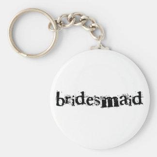 Bridesmaid Black Text Basic Round Button Key Ring