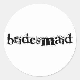 Bridesmaid Black Text Classic Round Sticker