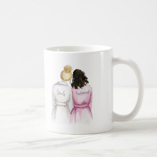 Bridesmaid? Blonde Bun Bride Dark Br Curly Maid Coffee Mug