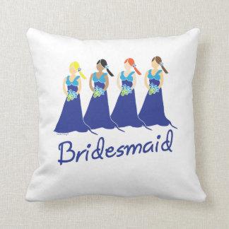 Bridesmaid Blue Dress Throw Cushion