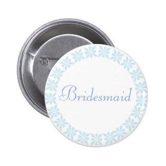 Bridesmaid Blue Flowers I D Button