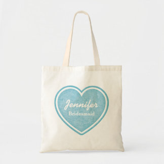 Bridesmaid Blue Heart Custom Tote Bag Favor