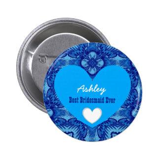 BRIDESMAID Blue Pattern and Hearts Wedding V08 6 Cm Round Badge