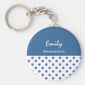 Bridesmaid Blue Polka Dots KC09 Basic Round Button Key Ring