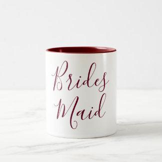 Bridesmaid Burgundy and White Cursive Two-Tone Coffee Mug
