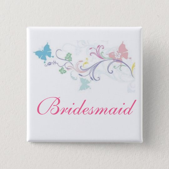 Bridesmaid Butterfly Button