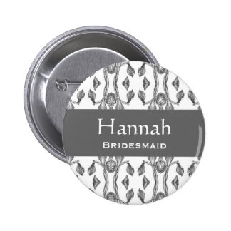 Bridesmaid Button Silver and White Y230