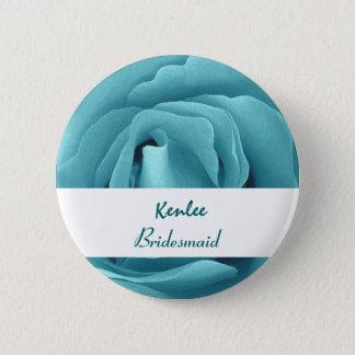 BRIDESMAID Button with AQUA BLUE Rose V03