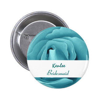 BRIDESMAID Button with AQUA BLUE Rose V03