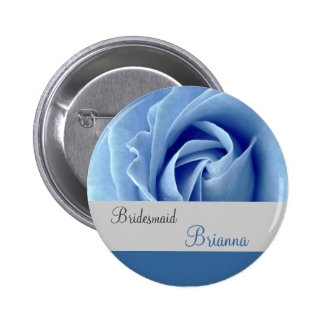 BRIDESMAID Button with BLUE Rose Pin