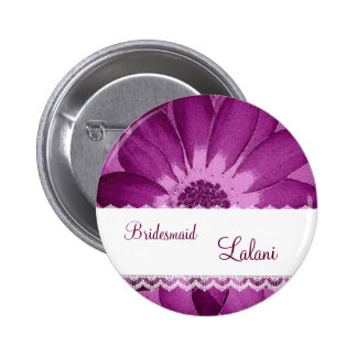 BRIDESMAID Button with BURGUNDY Flower V06