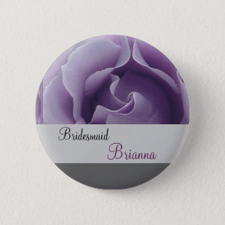 BRIDESMAID Button with LAVENDER PURPLE Rose