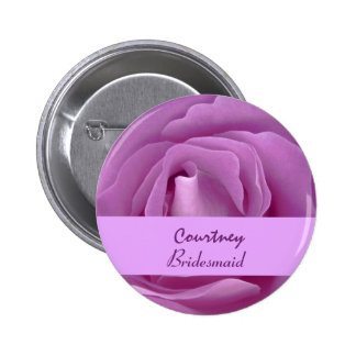 BRIDESMAID Button with LILAC PINK Rose V01 Buttons