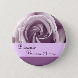 BRIDESMAID Button with LILAC PURPLE Rose
