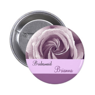 BRIDESMAID Button with LILAC PURPLE Rose Buttons