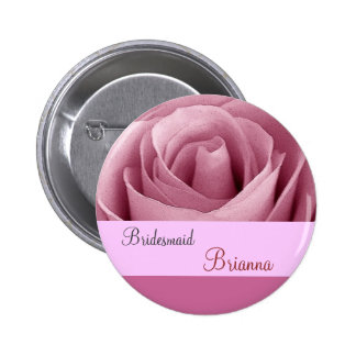 BRIDESMAID Button with PINK Rose Pins