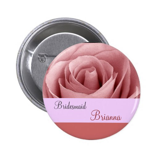 BRIDESMAID Button with PINK Rose Buttons