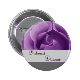 BRIDESMAID Button with PURPLE Rose Button