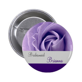 BRIDESMAID Button with PURPLE Rose Pinback Buttons